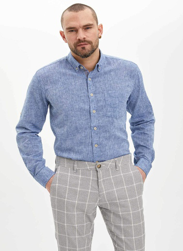 DeFacto Modern Fit Keten Gömlek Mavi